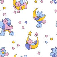 Фланель б/з ш 90 (5791/2 Звездный котик, м)